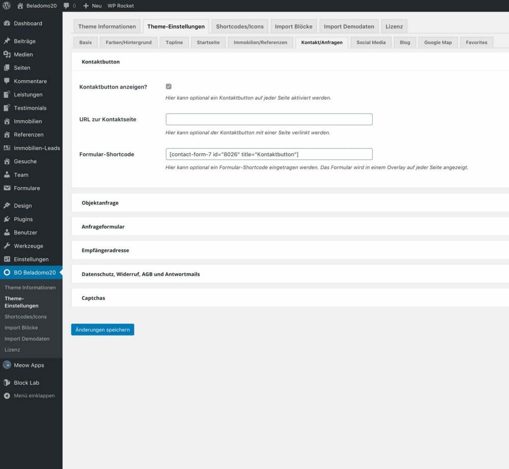 Theme-Einstellungen für Funktionen und persönliche Website-Daten