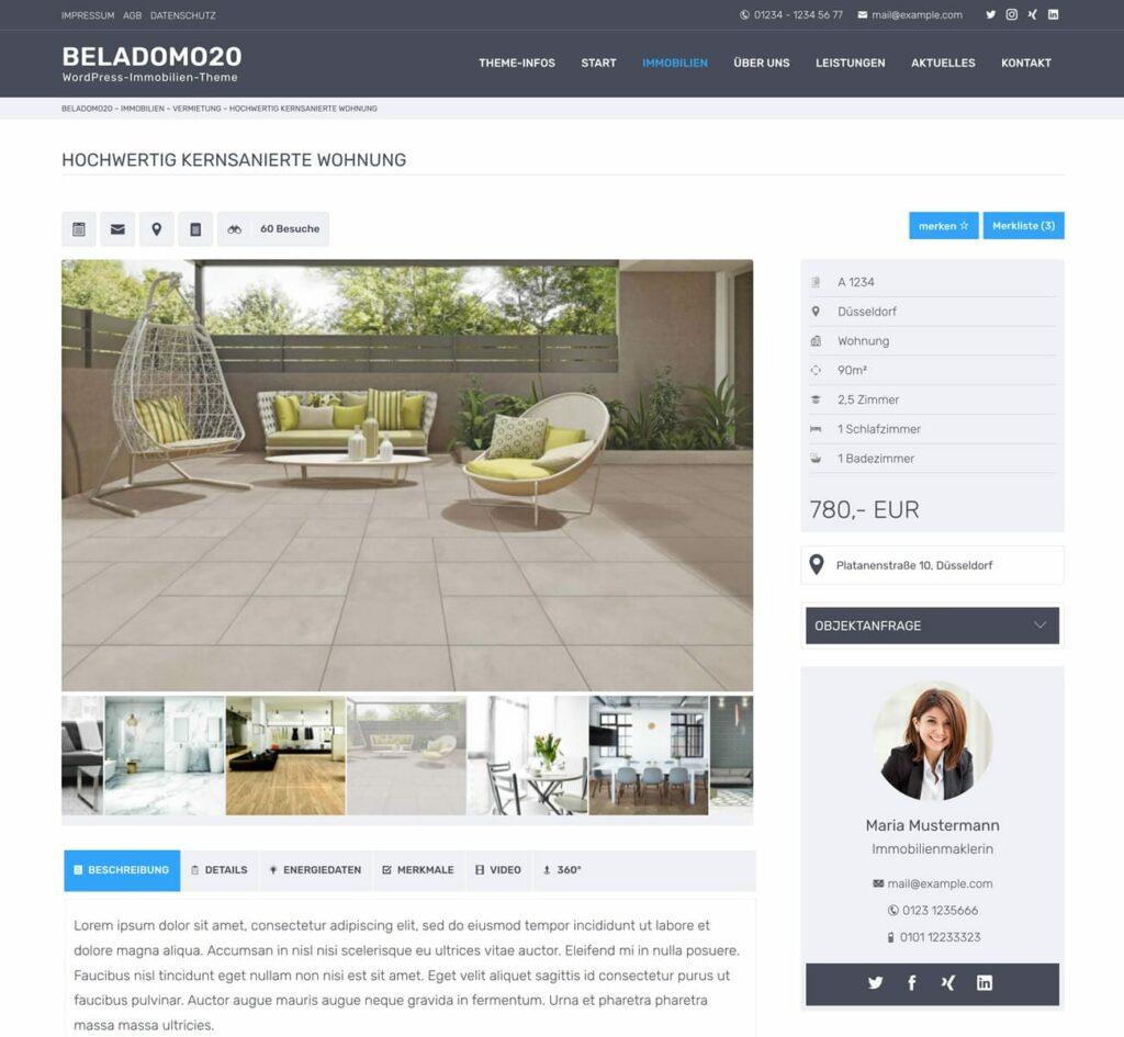 Immobilien Detailseite optional mit Bildergalerie, Video, Standort oder Ansprechpartner